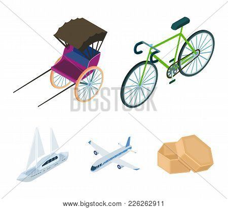 Bicycle, Rickshaw, Plane, Yacht.transport Set Collection Icons In Cartoon Style Vector Symbol Stock