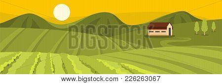 Large Field Banner. Flat Illustration Of Large Field Vector Banner For Web