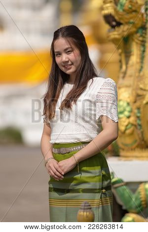 Beautiful Woman Thai Traditional Culture, Asian Woman Wearing Traditional Thai Culture At Countrysid