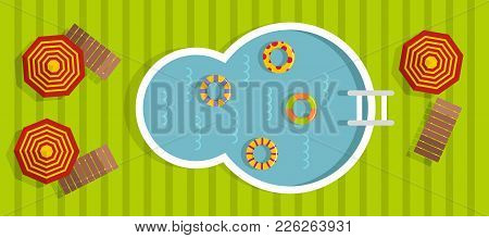 Swimming Pool Banner. Flat Illustration Of Swimming Pool Vector Banner For Web