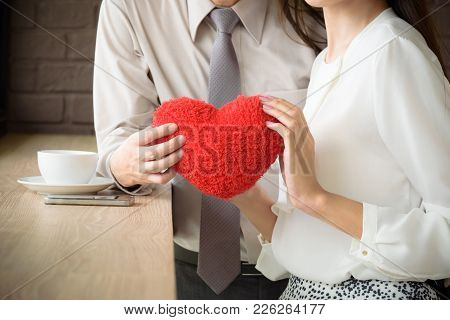 Couple Love Man And Woman Holding Red Heart, Love And Valentine Concept