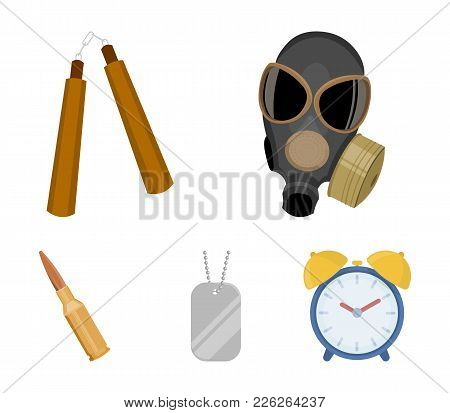 Gas Mask, Nunchak, Ammunition, Soldier's Token. Weapons Set Collection Icons In Cartoon Style Vector