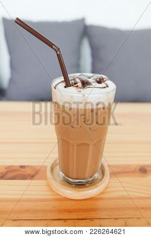 Close Up Of Iced Mocha Coffee Delicious Drink In Cafe