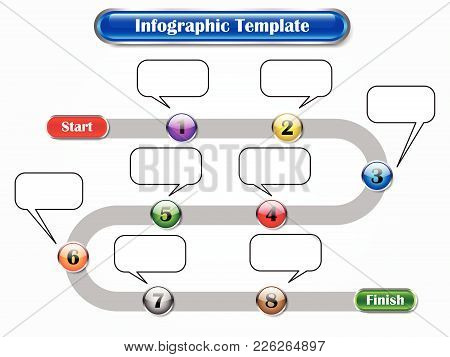 Vector Illustration Infographic Template Designed As Sequence Of Ten Buttons From Start To Finish Wi
