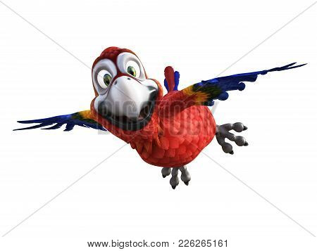 3d Rendering Of Cartoon Parrot Flying With Its Wings Out, Smiling And Looking Very Happy. White Back