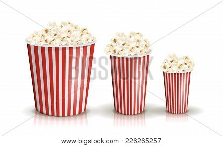 Vector Set Of Full Red-and-white Striped Popcorn Buckets In Different Sizes. Realistic Illustration.