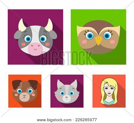 Owl, Cow, Wolf, Dog. Animal's Muzzle Set Collection Icons In Flat Style Vector Symbol Stock Illustra