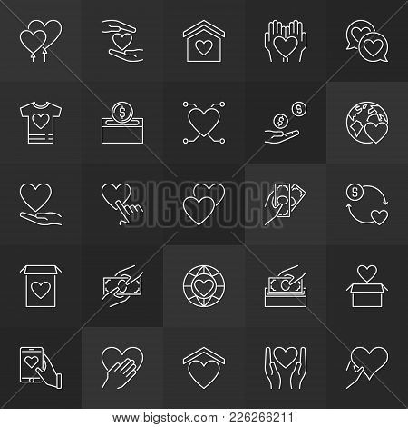 Charity And Donation Outline Icons. Vector Give And Donate Money Linear Signs On Dark Background