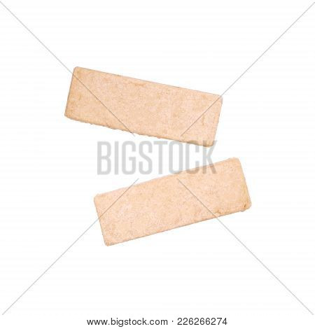 Two Traditional Scottish Shortbread Fingers Biscuits Or Cookies Isolated On White, Overhead Top View