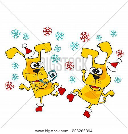 Cool Yellow Dog Mascot Cartoon. Funny Winter Xmas Dancing Animal In Santa Hat. Christmas And Chinese
