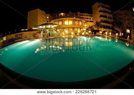Hurghada, Egypt - November 8, 2006: Night Illumination Of Swimming Pool And Poolside Is In The Area