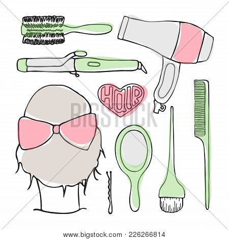 Hairdressing Tools Set. Hand-drawn Cartoon Collection Of Hair Stuling Stuff - Comb, Hairbrush, Hairp