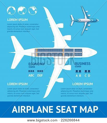Airplane Plan Seat Map Card Place For Your Text Project Structure Of Aviation Jet. Vector Illustrati