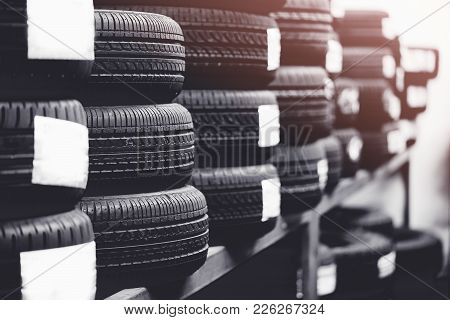 Tires For Sale At A Tire Store.black And White Tone.