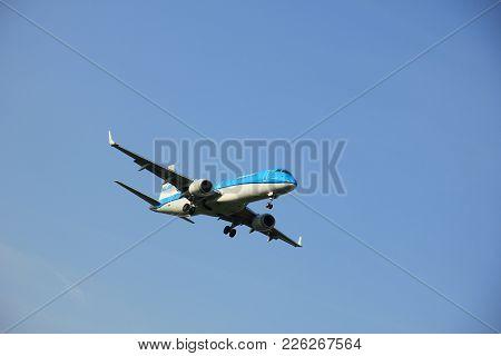 Amsterdam The Netherlands - May, 6th 2016: Ph-ezm Klm Cityhopper Embraer Erj-190std  Approaching Sch