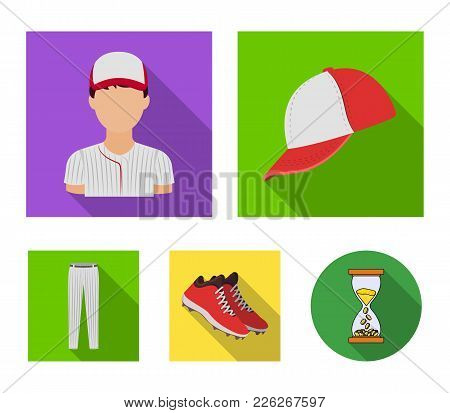 Baseball Cap, Player And Other Accessories. Baseball Set Collection Icons In Flat Style Vector Symbo