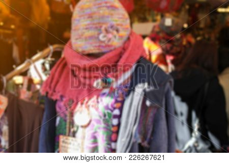 Blurred Photo Of Fashion Cloth Shop In Japan.