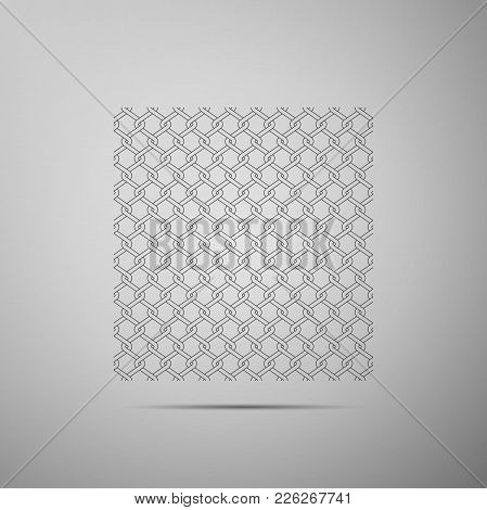 Chain Fence Icon Isolated On Grey Background. Metallic Wire Mesh Pattern. Flat Design. Vector Illust