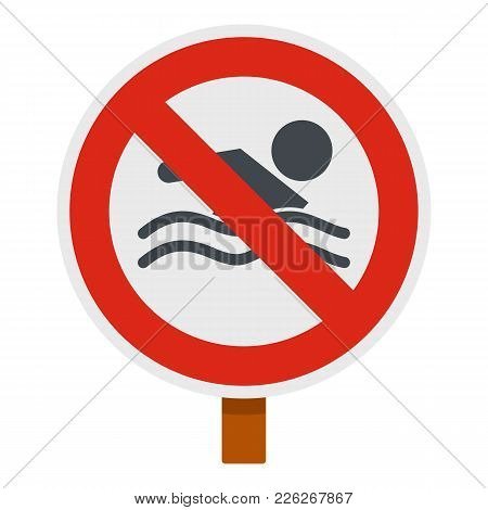 No Swimming Icon. Flat Illustration Of No Swimming Vector Icon For Web