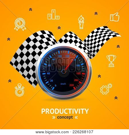 Motivation And Productivity Concept With Realistic 3d Detailed Speedometer Color Outline Icons Symbo