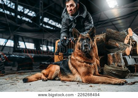 Stalker and dog, friends in post apocalyptic world