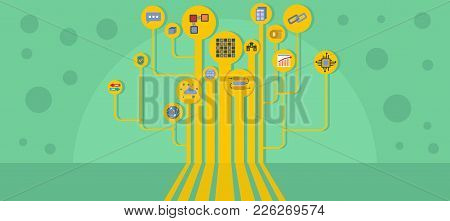 Software Chain Banner. Flat Illustration Of Software Chain Vector Banner For Web