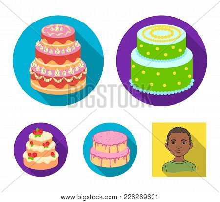 Sweetness, Dessert, Cream, Treacle .cakes Country Set Collection Icons In Flat Style Vector Symbol S