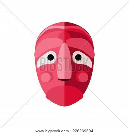Korean Mask Icon In Flat Style. Vector Illustration.