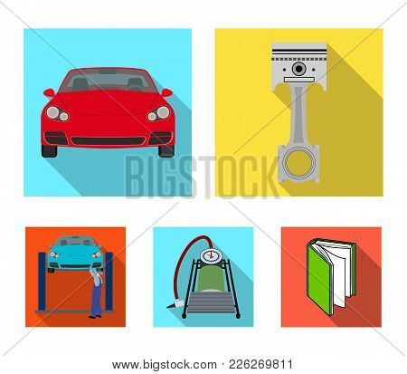 Car On Lift, Piston And Pump Flat Icons In Set Collection For Design.car Maintenance Station Vector