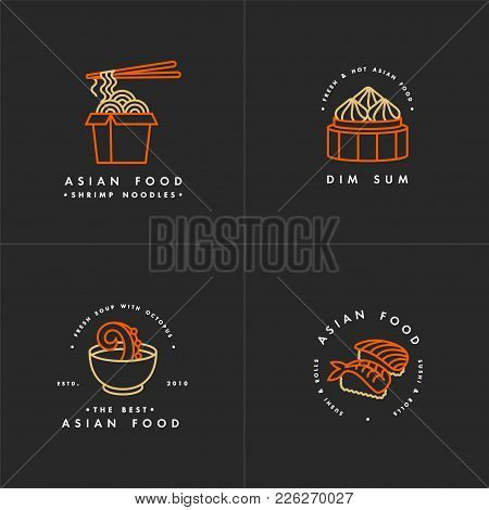 Vector Set Of Logo Design Templates And Emblems Or Badges. Asian Food - Noodles, Dim Sum, Soup, Sush