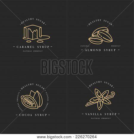 Vector Set Design Golden Templates Logo And Emblems - Syrups And Toppings-caramel, Almond, Cocoa, Va