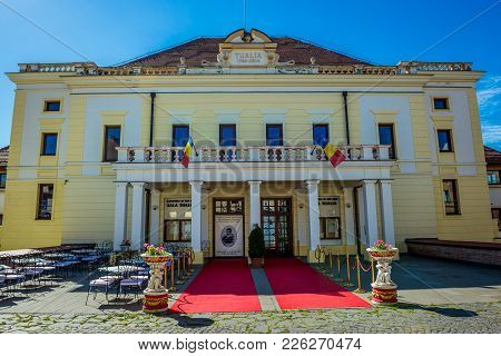 Sibiu, Romania - July 7, 2016: Frontage Of Thalia Concert Hall On A Castle Street In Sibiu City