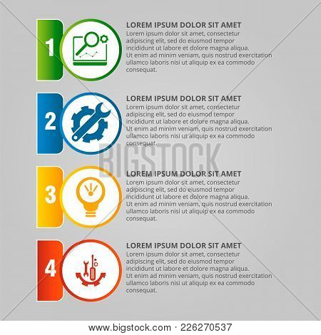 Modern Vector Illustration. Infographic Template With Four Elements, Circles And Text. Step By Step.
