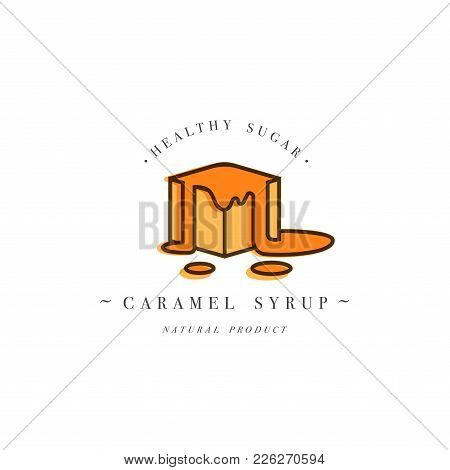 Packaging Design Template Logo And Emblem - Syrup And Topping - Piece Of Sweet Caramel. Logo In Tren