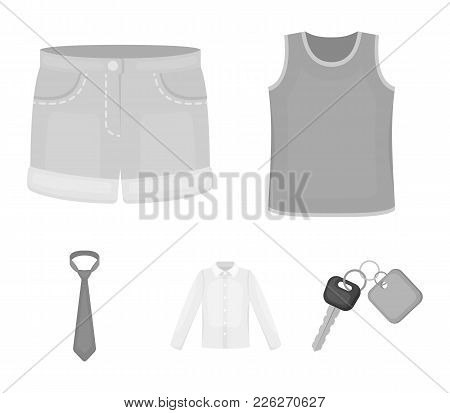 Shirt With Long Sleeves, Shorts, T-shirt, Tie.clothing Set Collection Icons In Monochrome Style Vect