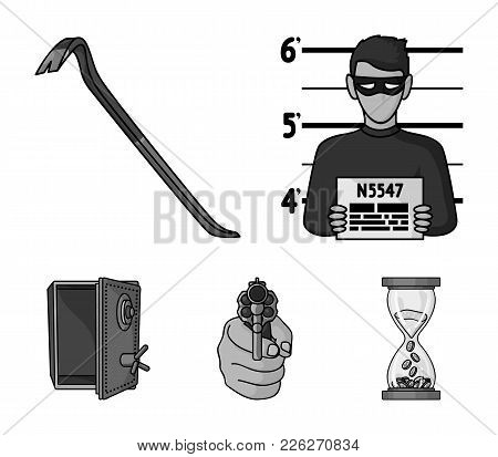 Photo Of Criminal, Scrap, Open Safe, Directional Gun.crime Set Collection Icons In Monochrome Style