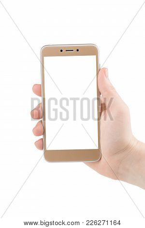 Hand Holding Phone Isolated On White Clipping Path Inside.