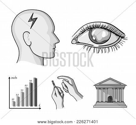 Poor Vision, Headache, Glucose Test, Insulin Dependence. Diabetic Set Collection Icons In Monochrome