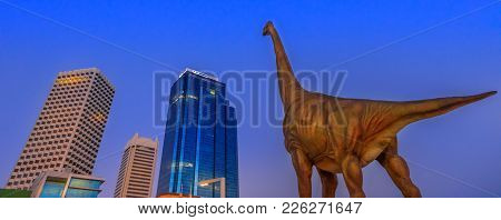 Perth, Australia - Jan 6, 2018: Panorama Of Perth Skyline Central Business District With Large Dinos