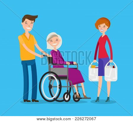 Volunteerism. Nursing Or Care Of Patients Concept. Cartoon Vector Illustration