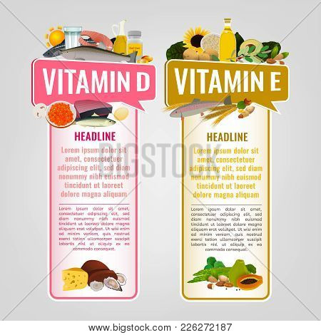 Vitamin E And Vitamin D Banners With Place For Text. Vertical Vector Illustrations With Caption Lett