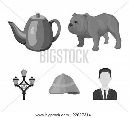 Breed Dog, Teapot, Brewer .england Country Set Collection Icons In Monochrome Style Vector Symbol St