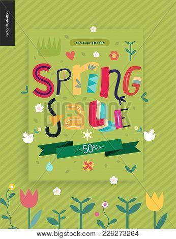 Spring Sale Poster - A Shop Announcement, Flyer, Discount Advertisement