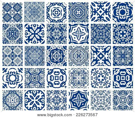 Vector Tiles Patterns. Seamless Flourish Backgrounds With Blue Flourish Elements. Arabic Decorative