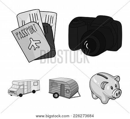 Vacation, Photo, Camera, Passport .family Holiday Set Collection Icons In Monochrome Style Vector Sy