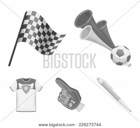 Pipe, Uniform And Other Attributes Of The Fans.fans Set Collection Icons In Monochrome Style Vector