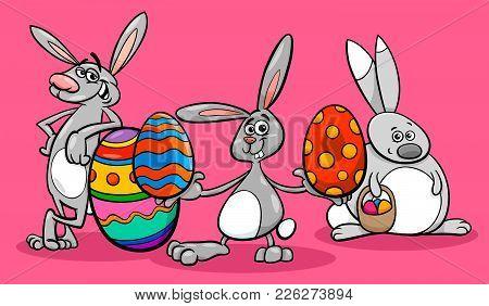 Bunnies And Easter Eggs Cartoon Illustration