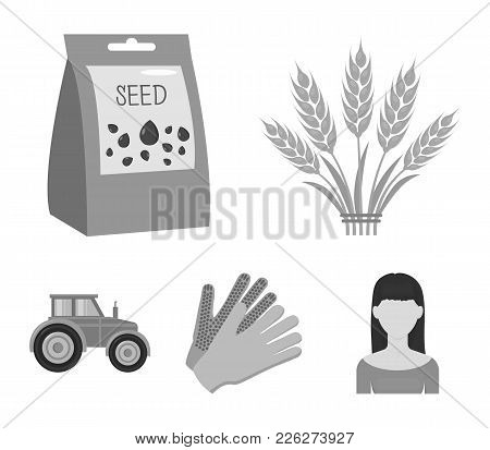 Spikelets Of Wheat, A Packet Of Seeds, A Tractor, Gloves.farm Set Collection Icons In Monochrome Sty