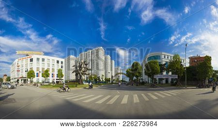 Hanoi, Vietnam - Aug 5, 2015: Panorama View Of Times City Complex In Clear Day, In Minh Khai Street,