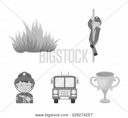 Fireman, Flame, Fire Truck. Fire Department Set Collection Icons In Monochrome Style Vector Symbol S